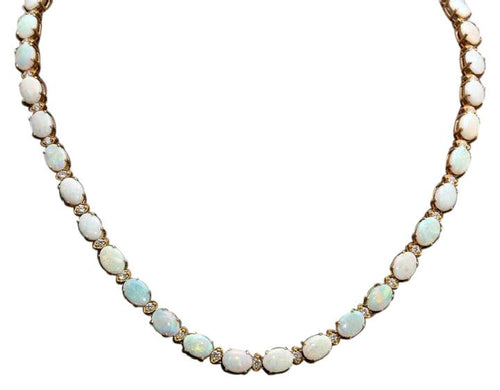 27.00Ct Natural Australian Opal 14K Solid Yellow Gold Necklace