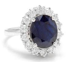 Load image into Gallery viewer, 8.65 Carats Exquisite Natural Blue Sapphire and Diamond 14K Solid White Gold Ring