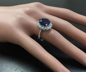8.65 Carats Exquisite Natural Blue Sapphire and Diamond 14K Solid White Gold Ring