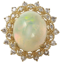 Load image into Gallery viewer, 6.90 Carats Natural Impressive Ethiopian Opal and Diamond 14K Solid Yellow Gold Ring