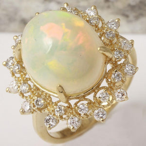 6.90 Carats Natural Impressive Ethiopian Opal and Diamond 14K Solid Yellow Gold Ring