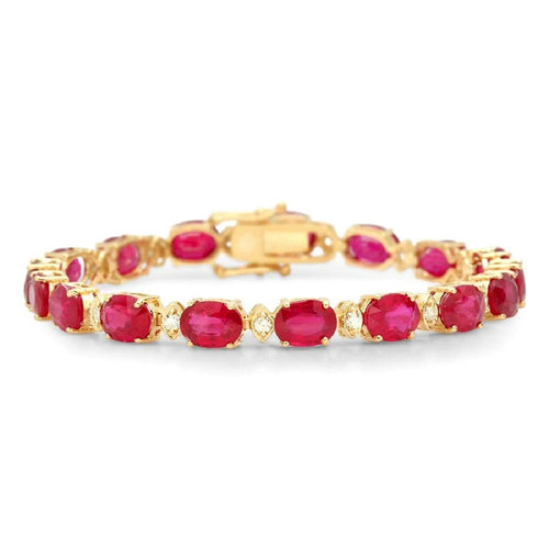 Very Impressive 26.90 Carats Natural Red Ruby & Diamond 14K Solid Yellow Gold Bracelet