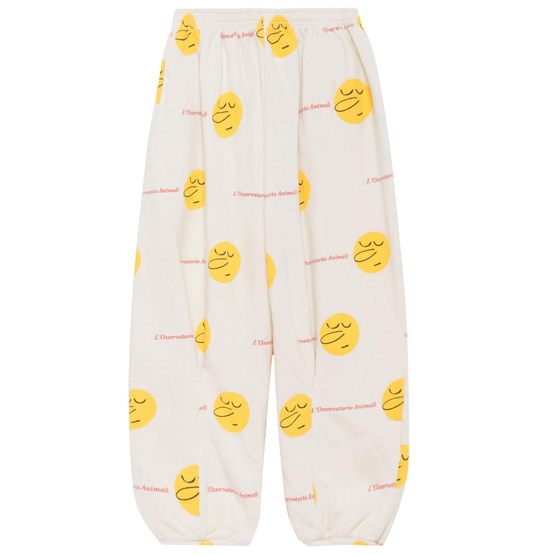 Girls White Cotton Pants With Yellow Face Printed