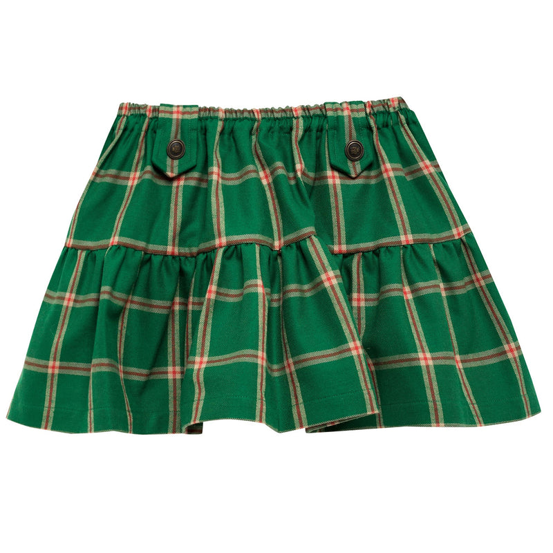 Girls Green Checked Skirt