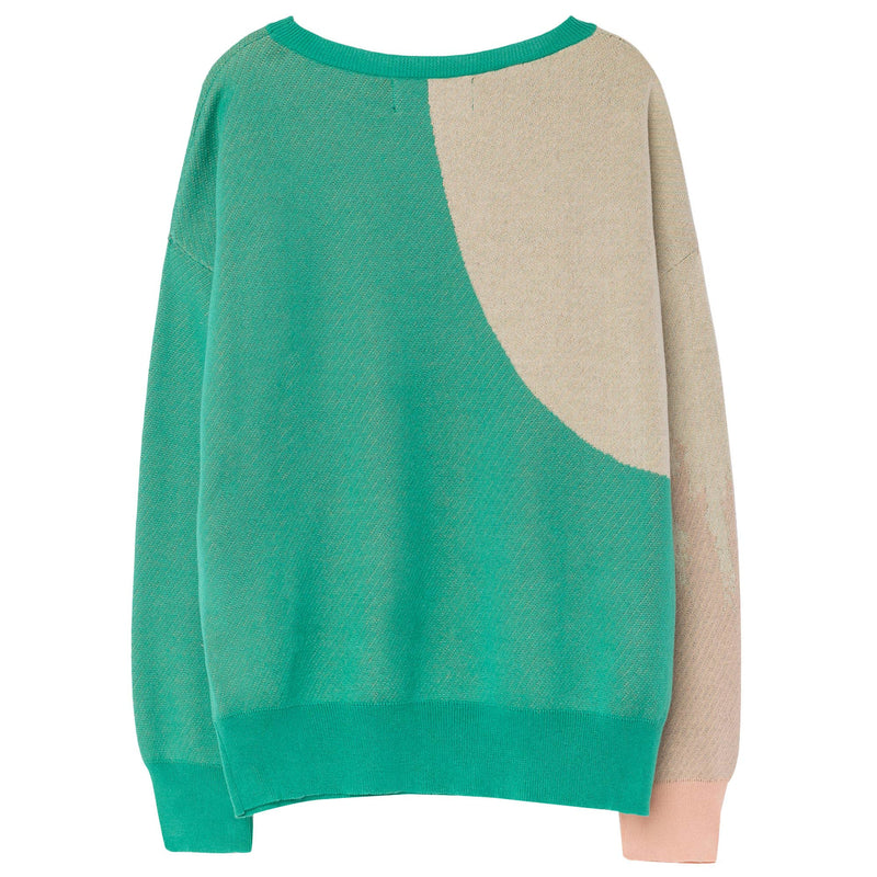 Girls Green Orange Printed Cotton Knitted Sweater