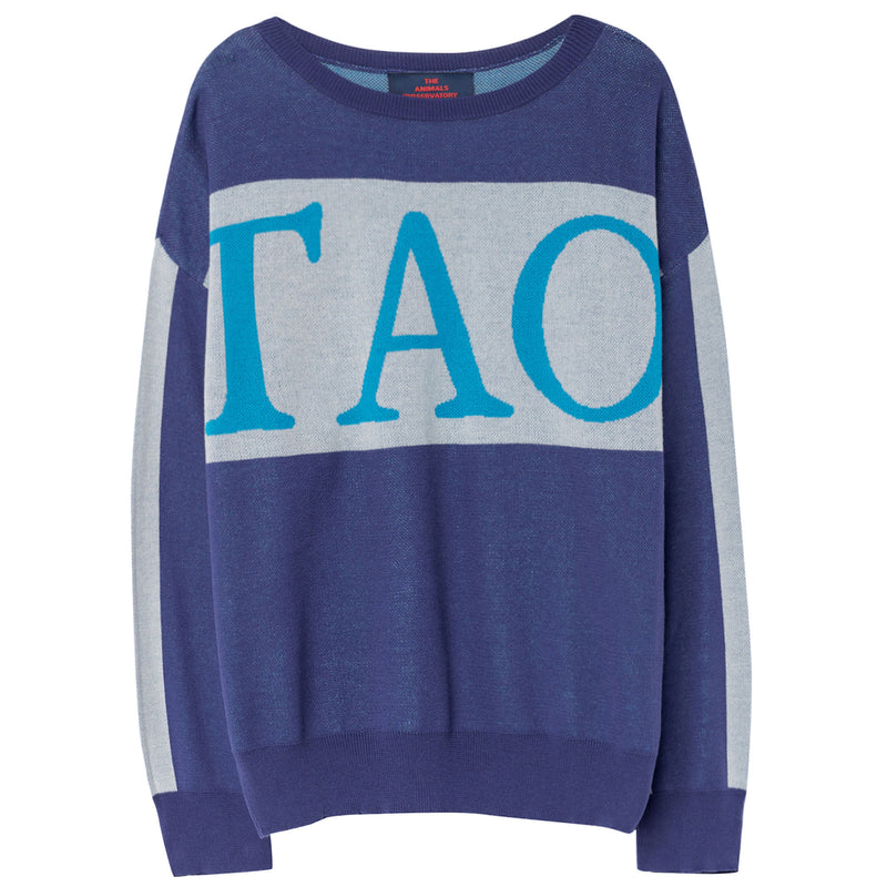 Girls Blue Logo Cotton Knitted Sweater