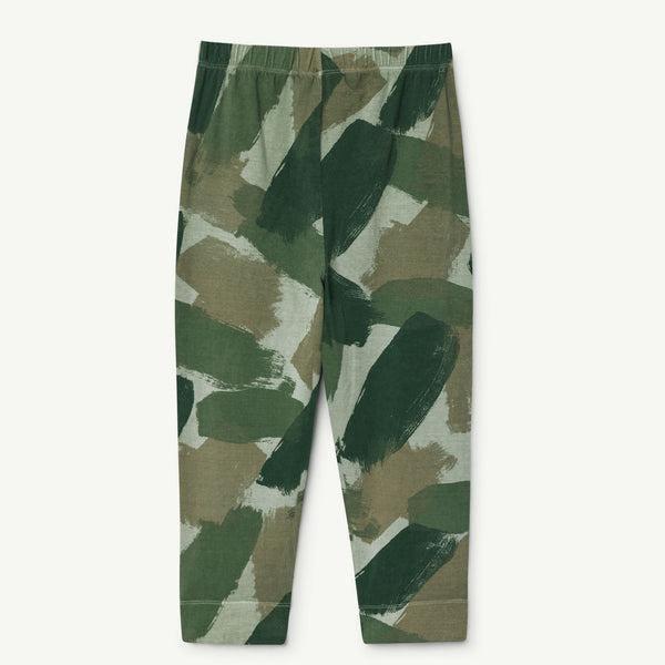 Girls & Boys Green Camouflage Cotton Trousers