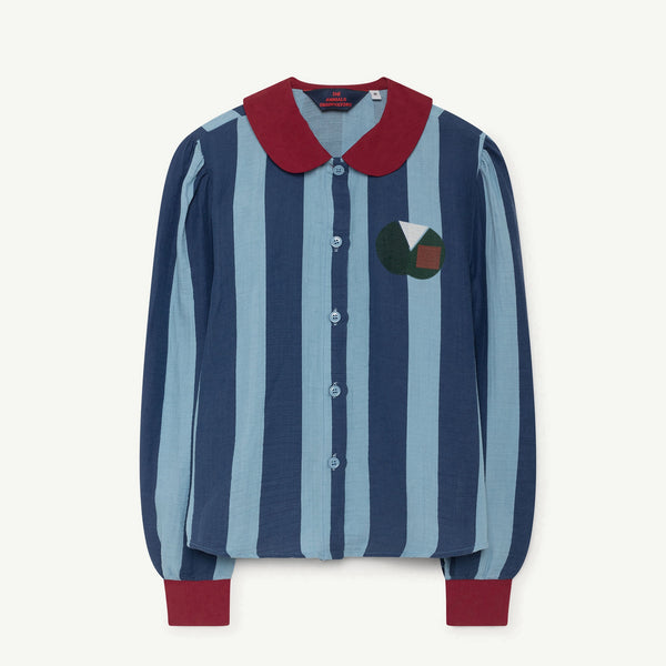 Girls & Boys Blue Striped Cotton Shirt
