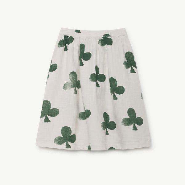 Girls White Clovers Cotton Skirt