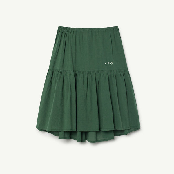 Girls Green Black Cotton Skirt