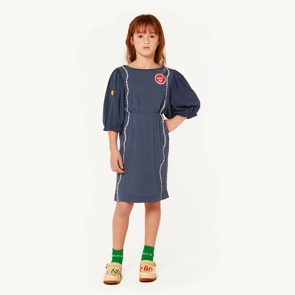 Girls Blue Shells Cotton Dress