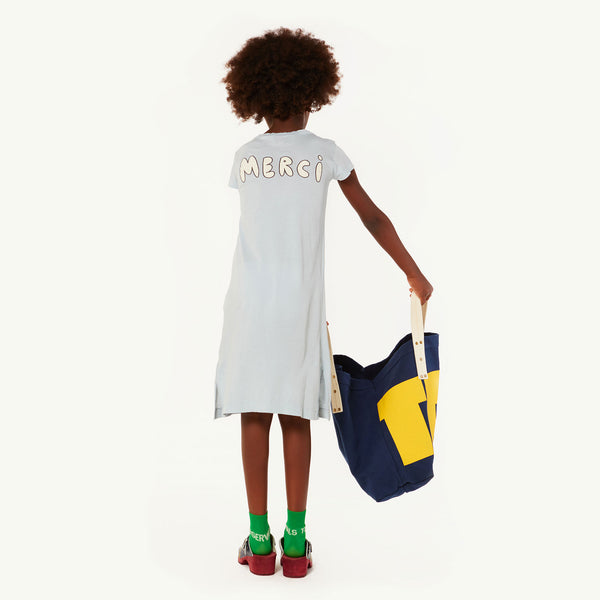 Girls Blue Bonjour Cotton Dress