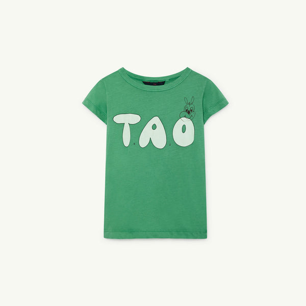 Girls Green Logo Cotton T-shirt