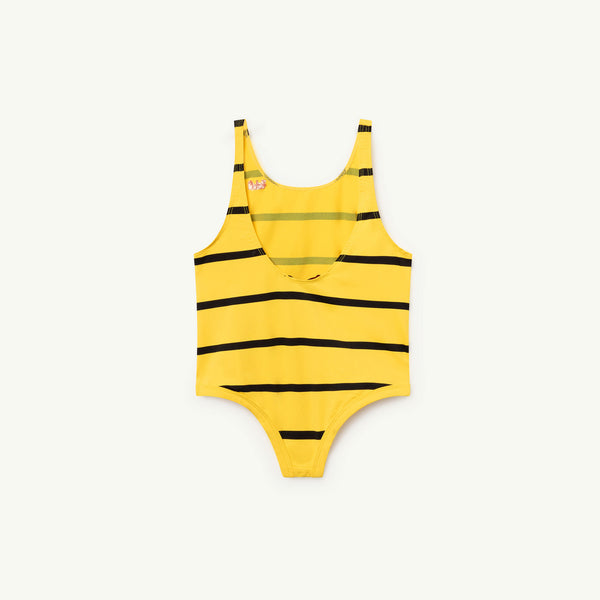 Girls Yellow Stripes Swimsuit