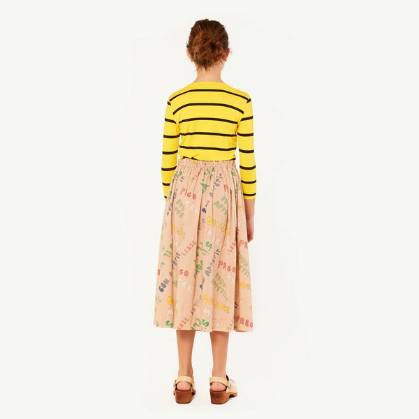 Girls Yellow Stripes Cotton T-shirt