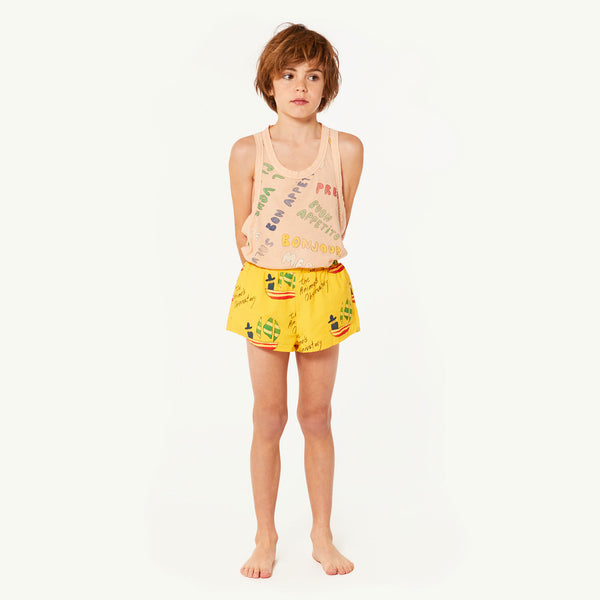 Girls Yellow Cotton Swimsuit