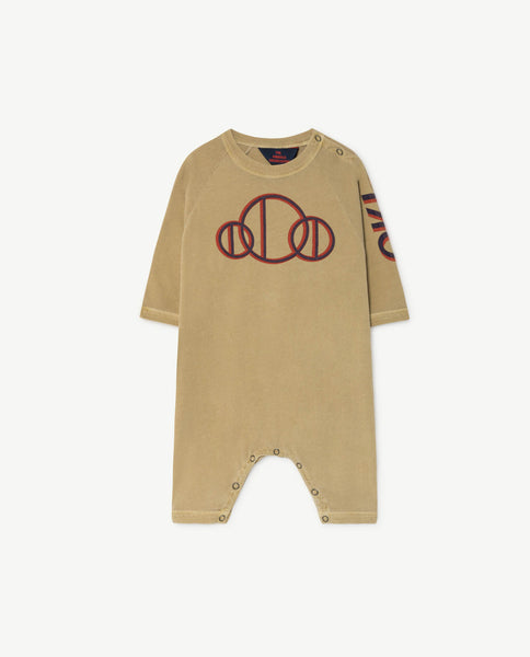 Baby Boys & Girls Khaki Printed Cotton Babysuit