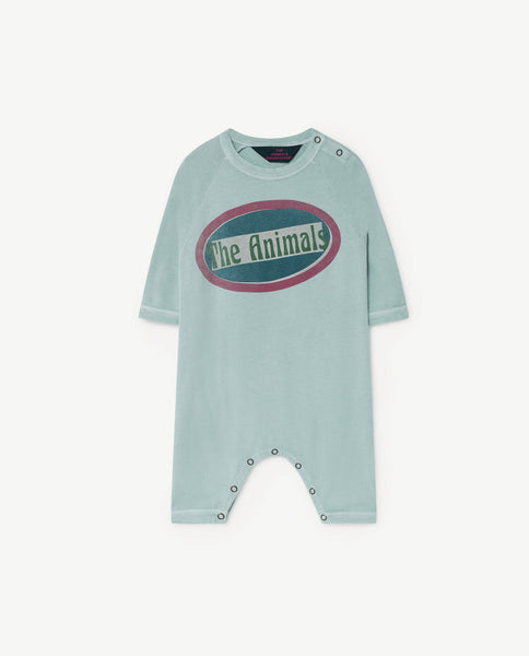 Baby Boys & Girls Blue Printed Cotton Babysuit