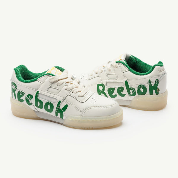 Boys & Girls Beige & Green Cow Leather & Textile Sneakers