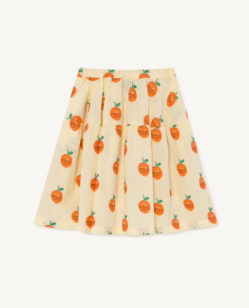Girls Light Yellow Fruit Cotton Skirt