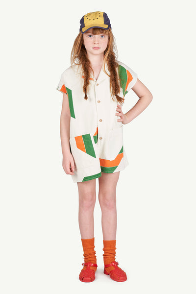 Girls White Geometric Cotton Junpsuit