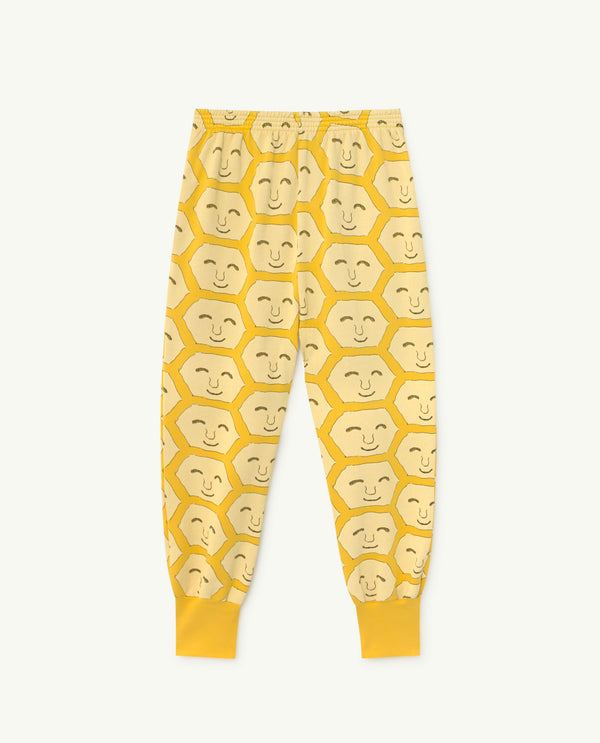 Boys & Girls Yellow Face Print Cotton Trousers