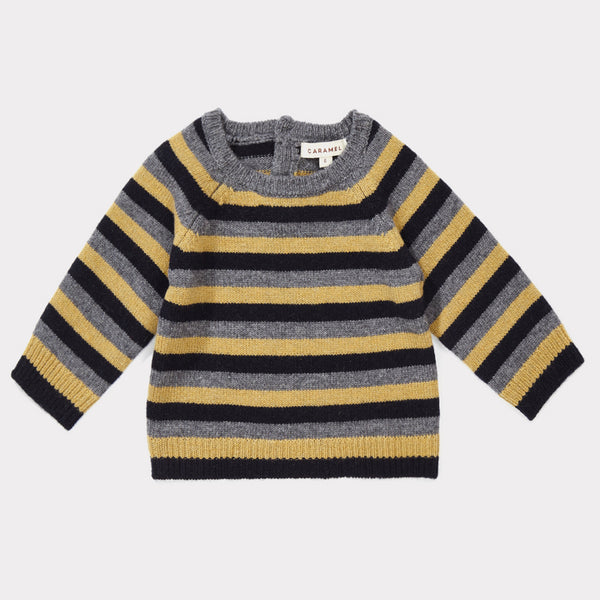 Baby Boys Grey Melange Striped Sweater