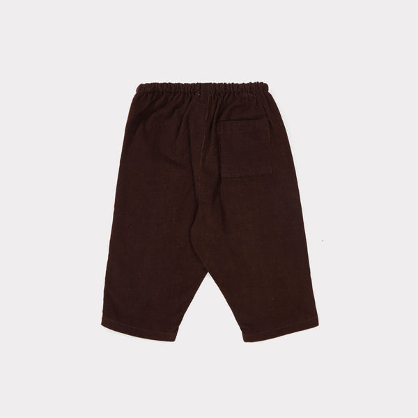 Baby Chocolate Cotton Woven Trousers