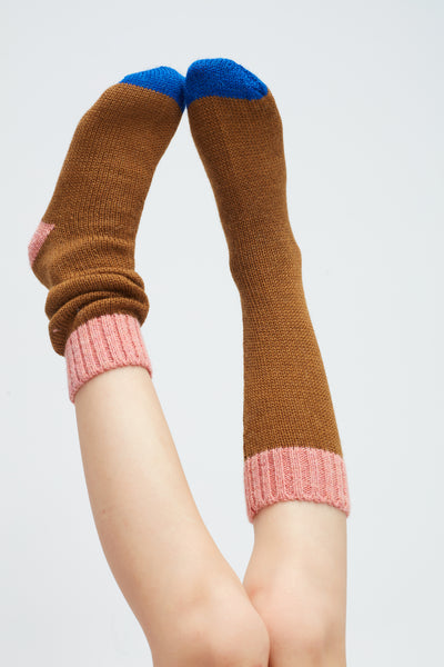 Girls Olive Alpaca Long Socks