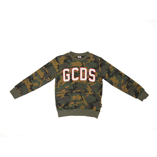 Boys & Girls Army Green Logo Cotton Sweatshirt