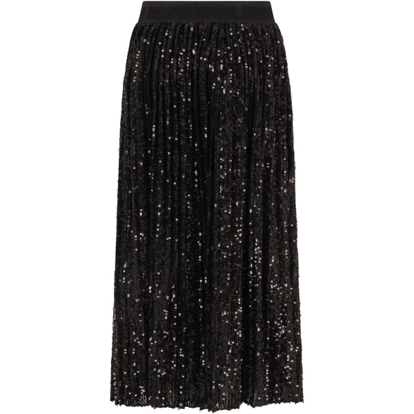 Girls Black Maxi Pailettes Skirt