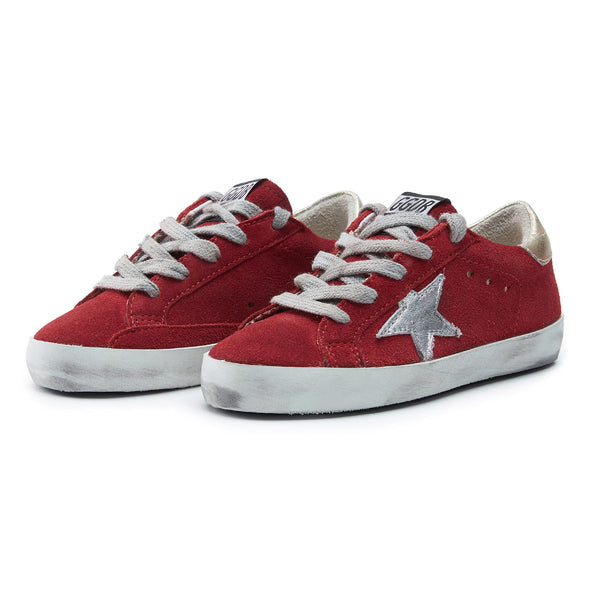 Boys & Girls Red & Sliver Star Leather Shoes