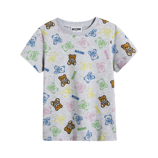 Boys & Girls Grey Print Cotton T-Shirt