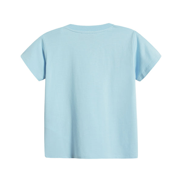 Baby Boys & Girls Blue Cotton T-Shirt