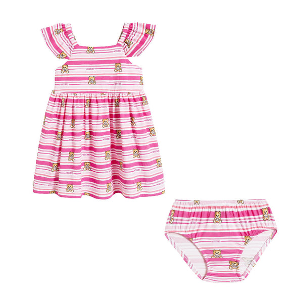 Baby Girls Pink Stripe Dress Suit