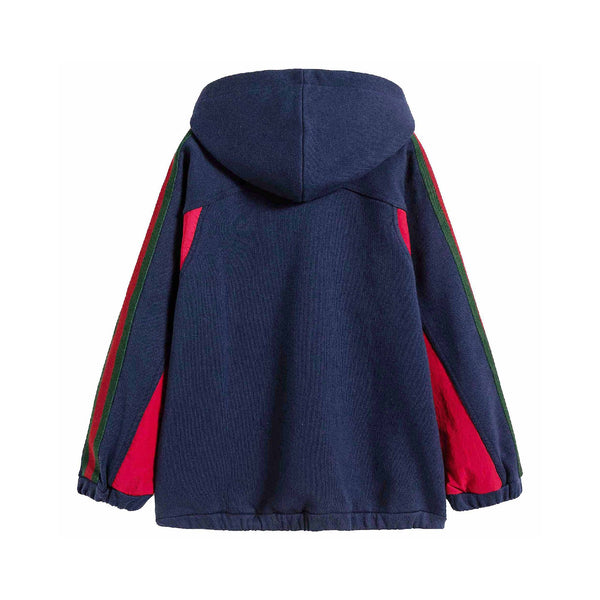 Baby Boys & Girls Prussian Blue Cotton Hoodie