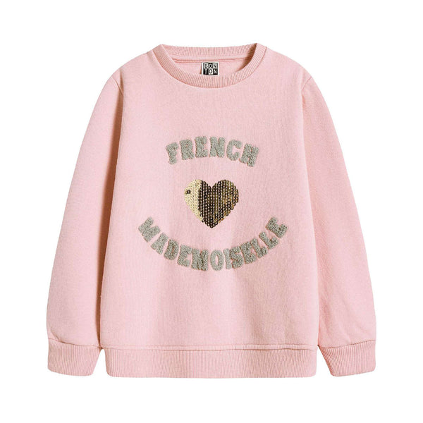 Girls Light Pink Heart Sweatshirt
