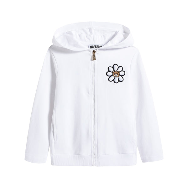 Baby Girls White Logo Cotton Hoodie