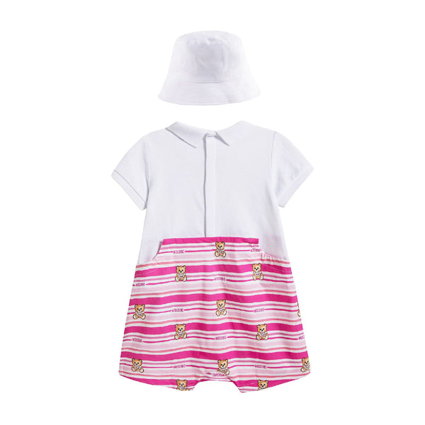 Baby Girls Pink Cotton Babysuit & Hat