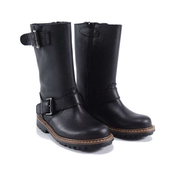 Boys & Girls Black Calf Skin Boots