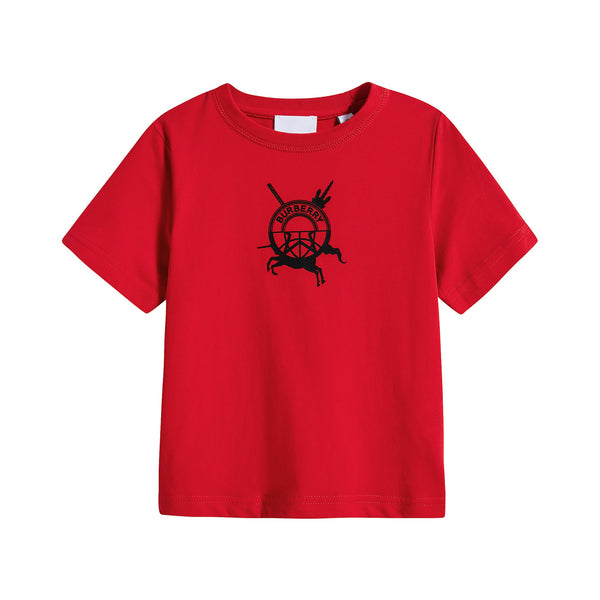 Boys & Girls Bright Red Cotton T-Shirt