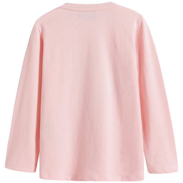 Baby Boys & Girls Pink Print Cotton Long Sleeves T-Shirt