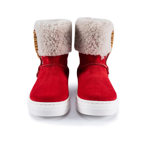 Girls Red Fur Boots