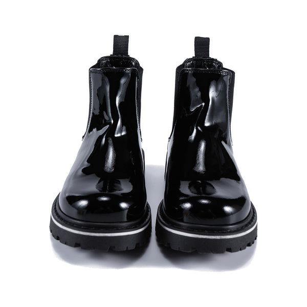 Boys & Girls Black Beatles Patch Boots