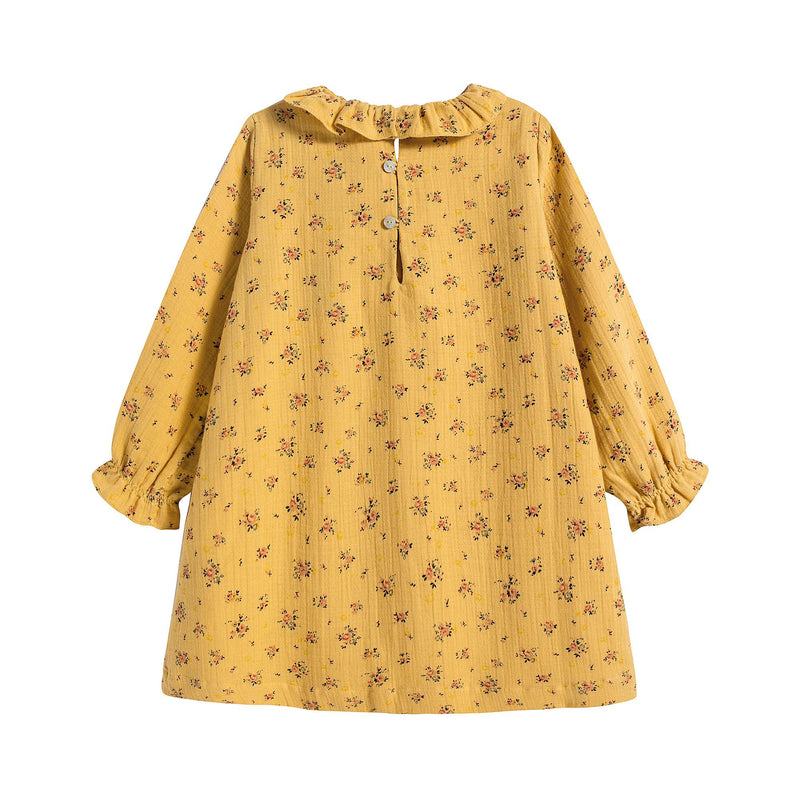 Girls Yellow Ruffle Dress