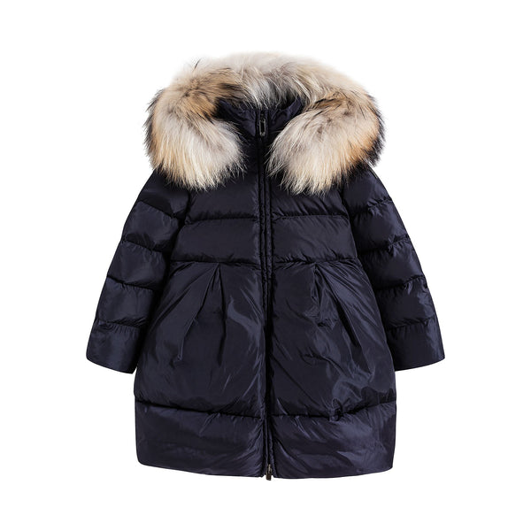 Girls Dark Blue Padded Down Coat