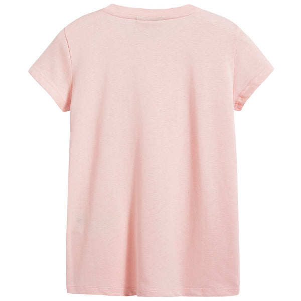 Girls Pink Printed Cotton T-shirt