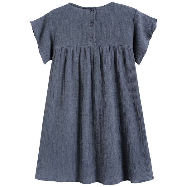 Girls Blue Flowers Cotton Dress