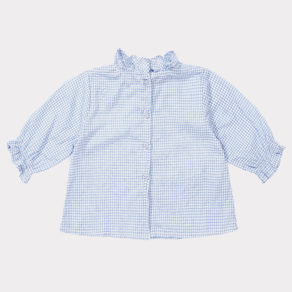 Baby Girls Sky Blue Check Cotton Blouse