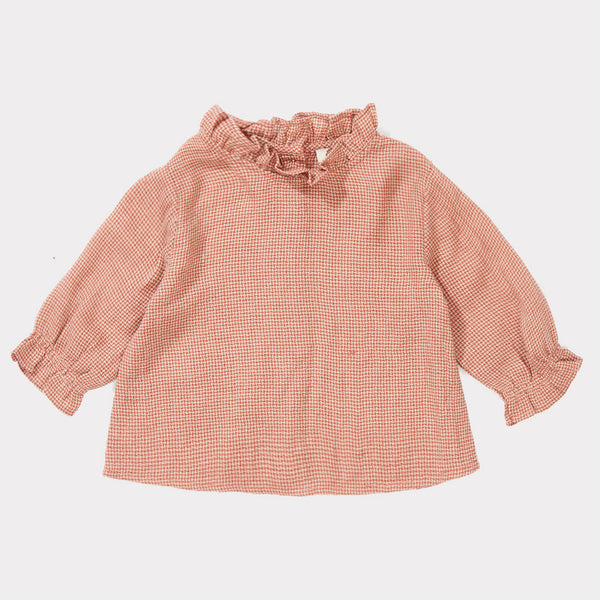 Baby Girls Peach Mirco Houndstooth Blouse
